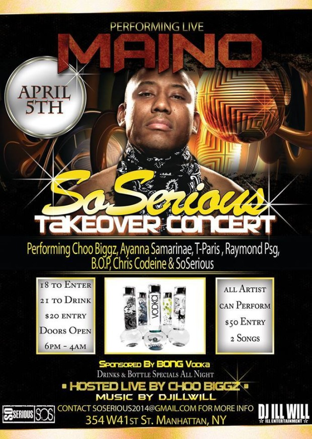 MAINO performing Live – Artists Performance – April 5th 2014 – SoSerious